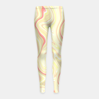 Miniature de image de Elegant cream color marble stone pattern, pink yellow and ivory abstract illustration Girl's leggings, Live Heroes