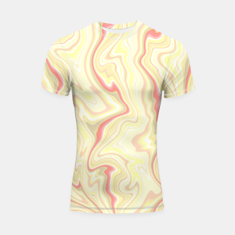 Miniature de image de Elegant cream color marble stone pattern, pink yellow and ivory abstract illustration Shortsleeve rashguard, Live Heroes