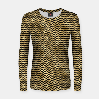 Thumbnail image of Diamond Chevrons in Black and Gold Vintage Faux Foil Art Deco Vintage Foil Pattern Women sweater, Live Heroes