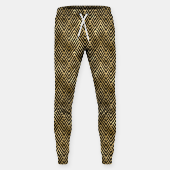 Thumbnail image of Diamond Chevrons in Black and Gold Vintage Faux Foil Art Deco Vintage Foil Pattern Sweatpants, Live Heroes