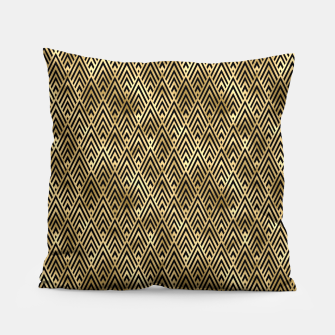 Thumbnail image of Diamond Chevrons in Black and Gold Vintage Faux Foil Art Deco Vintage Foil Pattern Pillow, Live Heroes