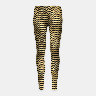 Thumbnail image of Diamond Chevrons in Black and Gold Vintage Faux Foil Art Deco Vintage Foil Pattern Girl's leggings, Live Heroes
