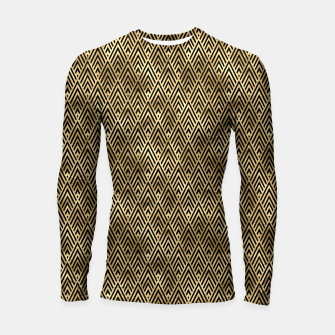 Thumbnail image of Diamond Chevrons in Black and Gold Vintage Faux Foil Art Deco Vintage Foil Pattern Longsleeve rashguard , Live Heroes