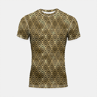 Thumbnail image of Diamond Chevrons in Black and Gold Vintage Faux Foil Art Deco Vintage Foil Pattern Shortsleeve rashguard, Live Heroes