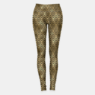 Thumbnail image of Diamond Chevrons in Black and Gold Vintage Faux Foil Art Deco Vintage Foil Pattern Leggings, Live Heroes