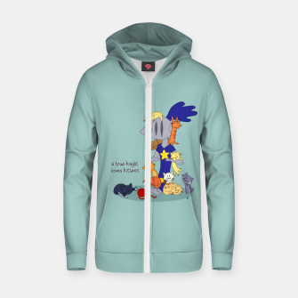 Thumbnail image of A True Knight Loves Kittens - Ernest the Knight Zip up hoodie, Live Heroes