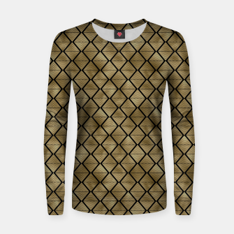 Thumbnail image of Lined Diamonds in Black and Gold Vintage Faux Foil Art Deco Vintage Foil Pattern Women sweater, Live Heroes