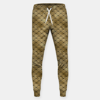 Thumbnail image of Ringed Scales in Black and Gold Vintage Faux Foil Art Deco Vintage Foil Pattern Sweatpants, Live Heroes