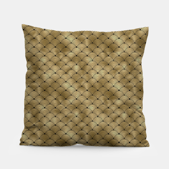 Thumbnail image of Ringed Scales in Black and Gold Vintage Faux Foil Art Deco Vintage Foil Pattern Pillow, Live Heroes