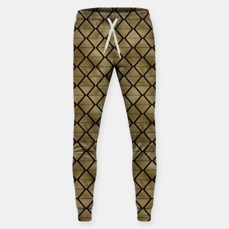 Thumbnail image of Lined Diamonds in Black and Gold Vintage Faux Foil Art Deco Vintage Foil Pattern Sweatpants, Live Heroes