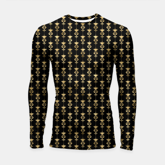 Thumbnail image of Damask Motifs in Black and Gold Vintage Faux Foil Art Deco Vintage Foil Pattern Longsleeve rashguard , Live Heroes