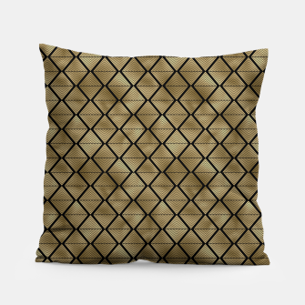 Thumbnail image of Lined Diamonds in Black and Gold Vintage Faux Foil Art Deco Vintage Foil Pattern Pillow, Live Heroes