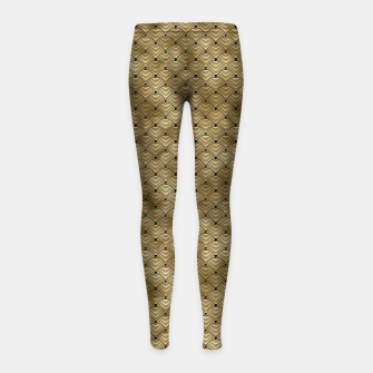 Thumbnail image of Ringed Scales in Black and Gold Vintage Faux Foil Art Deco Vintage Foil Pattern Girl's leggings, Live Heroes