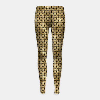 Thumbnail image of Fan Palms in Black and Gold Vintage Faux Foil Art Deco Vintage Foil Pattern Girl's leggings, Live Heroes