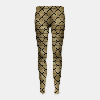 Thumbnail image of Lined Diamonds in Black and Gold Vintage Faux Foil Art Deco Vintage Foil Pattern Girl's leggings, Live Heroes