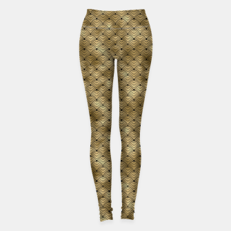 Thumbnail image of Ringed Scales in Black and Gold Vintage Faux Foil Art Deco Vintage Foil Pattern Leggings, Live Heroes