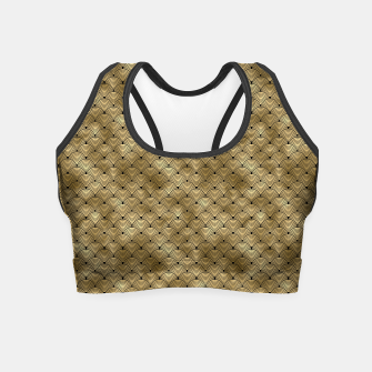 Thumbnail image of Ringed Scales in Black and Gold Vintage Faux Foil Art Deco Vintage Foil Pattern Crop Top, Live Heroes