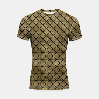 Thumbnail image of Lined Diamonds in Black and Gold Vintage Faux Foil Art Deco Vintage Foil Pattern Shortsleeve rashguard, Live Heroes