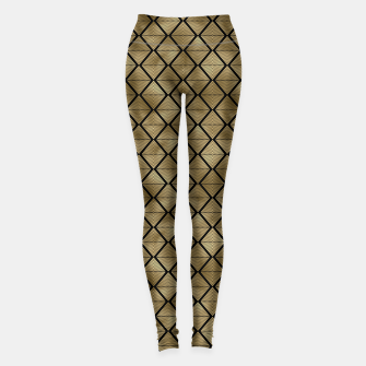 Thumbnail image of Lined Diamonds in Black and Gold Vintage Faux Foil Art Deco Vintage Foil Pattern Leggings, Live Heroes