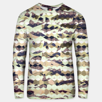 Thumbnail image of Cubes, ink blue pattern mixture, 3D hexagons figures Unisex sweater, Live Heroes