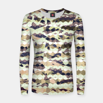 Thumbnail image of Cubes, ink blue pattern mixture, 3D hexagons figures Women sweater, Live Heroes