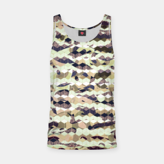 Thumbnail image of Cubes, ink blue pattern mixture, 3D hexagons figures Tank Top, Live Heroes