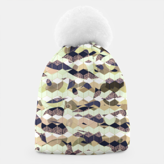 Thumbnail image of Cubes, ink blue pattern mixture, 3D hexagons figures Beanie, Live Heroes