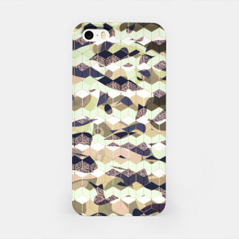 Thumbnail image of Cubes, ink blue pattern mixture, 3D hexagons figures iPhone Case, Live Heroes