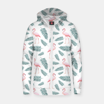 Thumbnail image of Flamingos and Palms Zip up hoodie, Live Heroes