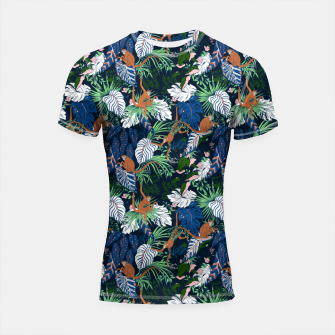 Thumbnail image of Monkeys in the dark jungle Shortsleeve rashguard, Live Heroes