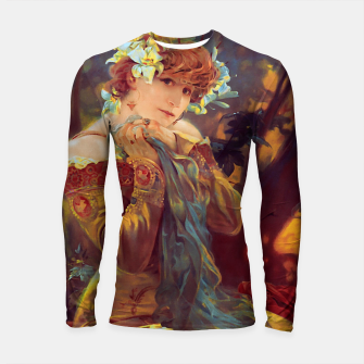 Thumbnail image of Sarah Bernhardt in La Princesse Lointaine by Alphonse Mucha Longsleeve rashguard , Live Heroes