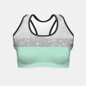 Thumbnail image of White Marble Mint Silver Glitter Stripe Glam #1 #minimal #decor #art  Crop Top, Live Heroes