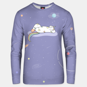 Thumbnail image of Weird Unicorn Cat dreaming of a vacation Unisex sweater, Live Heroes