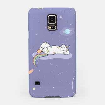 Thumbnail image of Weird Unicorn Cat dreaming of a vacation Samsung Case, Live Heroes
