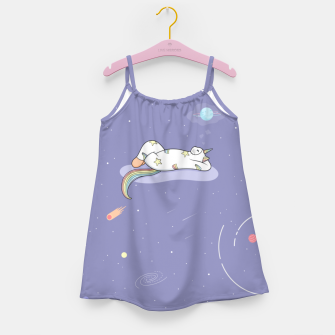 Thumbnail image of Weird Unicorn Cat dreaming of a vacation Girl's dress, Live Heroes