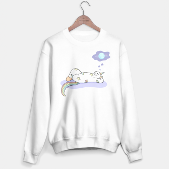 Thumbnail image of Weird Unicorn Cat dreaming of a vacation Sweater regular, Live Heroes