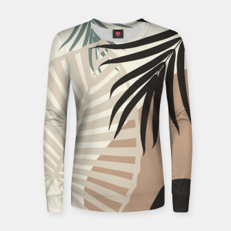 Thumbnail image of Minimal Tropical Palm Leaf Finesse #1 #tropical #decor #art  Frauen sweatshirt, Live Heroes