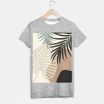 Thumbnail image of Minimal Tropical Palm Leaf Finesse #1 #tropical #decor #art  T-Shirt regulär, Live Heroes