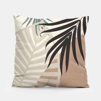 Thumbnail image of Minimal Tropical Palm Leaf Finesse #1 #tropical #decor #art  Kissen, Live Heroes
