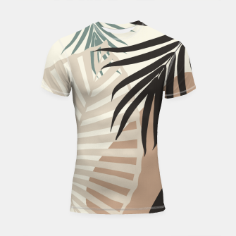 Thumbnail image of Minimal Tropical Palm Leaf Finesse #1 #tropical #decor #art  Shortsleeve rashguard, Live Heroes