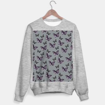 Gray Lavender & Black Butterfly Glam #1 #pattern #decor #art Sweatshirt regulär Bild der Miniatur