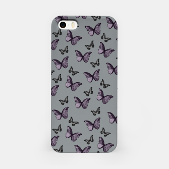 Gray Lavender & Black Butterfly Glam #1 #pattern #decor #art iPhone-Hülle Bild der Miniatur