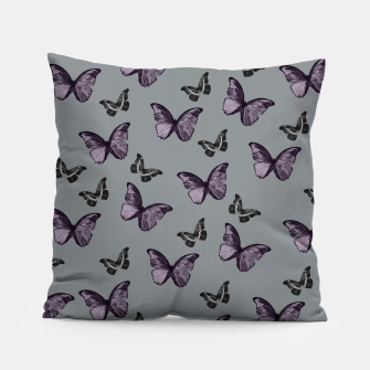 Gray Lavender & Black Butterfly Glam #1 #pattern #decor #art Kissen Bild der Miniatur