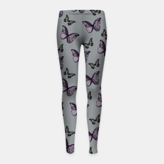 Gray Lavender & Black Butterfly Glam #1 #pattern #decor #art Kinder-Leggins Bild der Miniatur