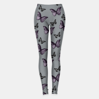 Gray Lavender & Black Butterfly Glam #1 #pattern #decor #art Leggings Bild der Miniatur