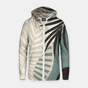 Thumbnail image of Minimal Tropical Palm Leaf Finesse #2 #tropical #decor #art  Reißverschluss kapuzenpullover, Live Heroes