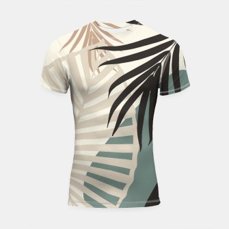 Thumbnail image of Minimal Tropical Palm Leaf Finesse #2 #tropical #decor #art  Shortsleeve rashguard, Live Heroes