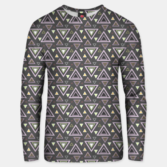 Thumbnail image of Ash gray triangles pattern, geometric artwork with colorful shapes precisely arranged Unisex sweater, Live Heroes