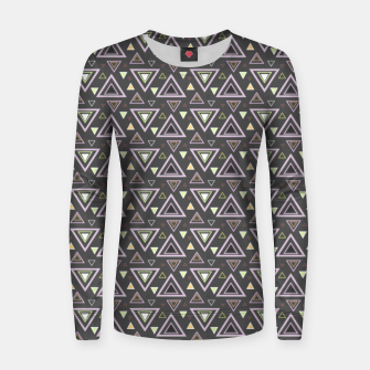 Thumbnail image of Ash gray triangles pattern, geometric artwork with colorful shapes precisely arranged Women sweater, Live Heroes