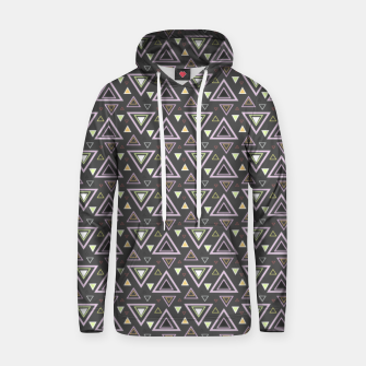 Thumbnail image of Ash gray triangles pattern, geometric artwork with colorful shapes precisely arranged Hoodie, Live Heroes